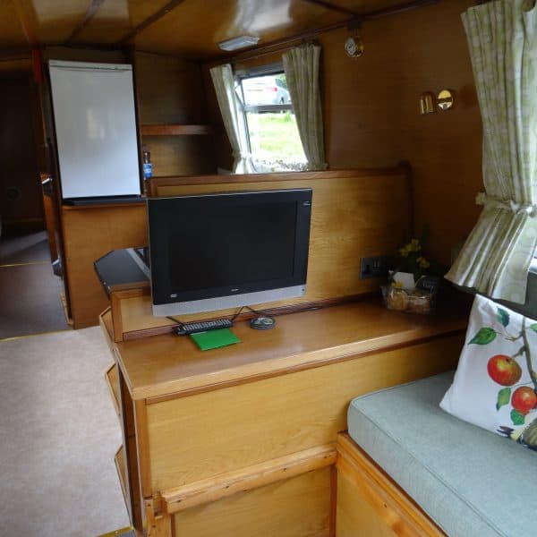 Looking from the bow door, the lounge area makes up into a double bed