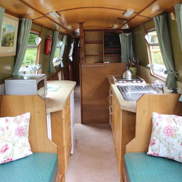 looking from the bow deck, the front seating area can be converted into a double bed