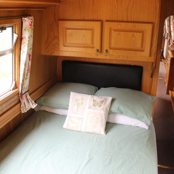 The rear cabin has a fixed double bed