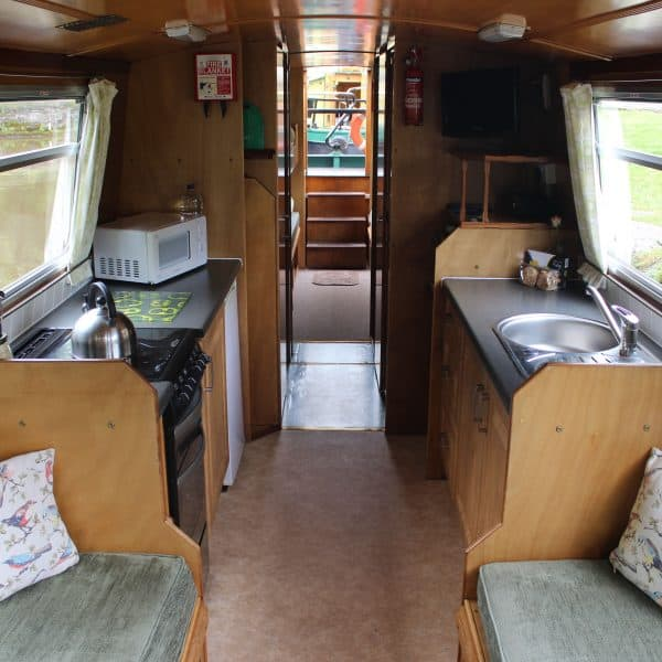 Looking from the bow deck, the front seating area has the option of a dining table or double bed
